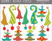 """quirky, whimsical """"Grinch"""" & """"Whoville"""" style Christmas tree graphics, vector, royalty free, commercial use. Instant download."""