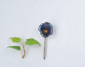 Real pansy Hair Clip- Bobby Pin with real flower- nature inspired -Violet hairpin- spring accessories