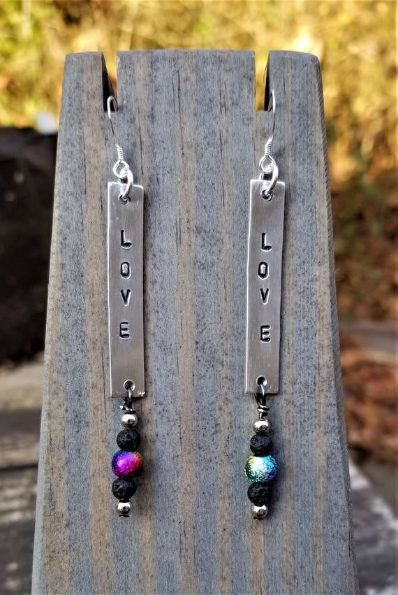 Hand Stamped Rainbow LOVE Earrings (Sterling Silver, Aluminum)