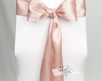 Blush Rose Gold High quality Satin Chair Sash. Prr-ironed for Chair Decoration in Bridal Shower Wedding Ceremony Event Reception | 24 colors
