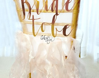 Bride To Be Hand Calligraphy Chair Sign for Bridal Shower Decor | Bride-To-Be Cardstock or Wood Romantic Bridal Chair Decoration