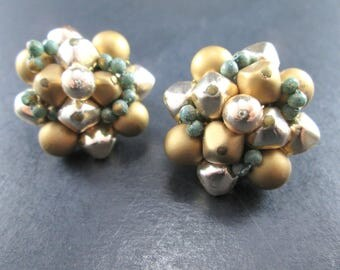 Vintage Gold Tn & Silver Tn Bead Cluster Earrings Clip On Japan 1960s