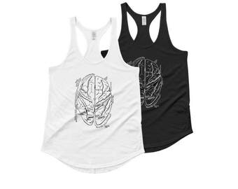 Vintage Anatomy Brain Tank - Hand Drawn Graphic Tank - Graphic Tee- Graphic Tank Top