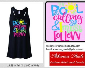 The pool is calling and I must follow Bella flowy racerback tank top, pool hair, summer hair, summer tank, pool tank, up to 2x