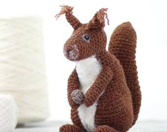 Red Squirrel Crochet Kit - Amigurumi Crochet Squirrel Kit - craft kit gift - crochet red squirrel project - squirrel craft kit for adults