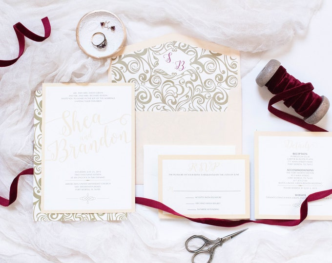 5x7 Peaches and Cream & Gold Elegant Wedding Invitation with Monogram Envelope Liner with RSVP and Details Insert. Different Colors Options