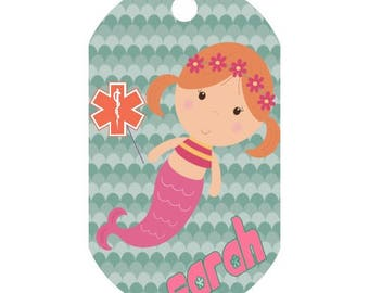 Custom Childrens Medical Alert Mermaid Dog Tag | Medic Tag | Medical Alert ID | Medical Alert Jewelry | Front and Back Included