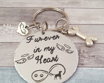 Pet Memorial Keychain- Fur-ever in my Heart with Infinity Symbol and Wings with Halo | Pets Name engraved on backside
