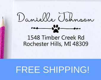 Paw Print Return Address Stamp - Self Inking Address Stamp - Personalized Address Stamp   (D115)