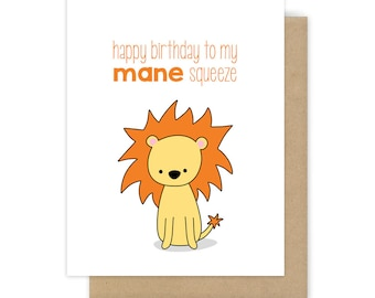 Funny Birthday Card For Boyfriend Husband Him Lion Pun Mane Squeeze Fun Leo Love Happy Bday Handmade Punny Greeting Cards Gifts Gift Ideas