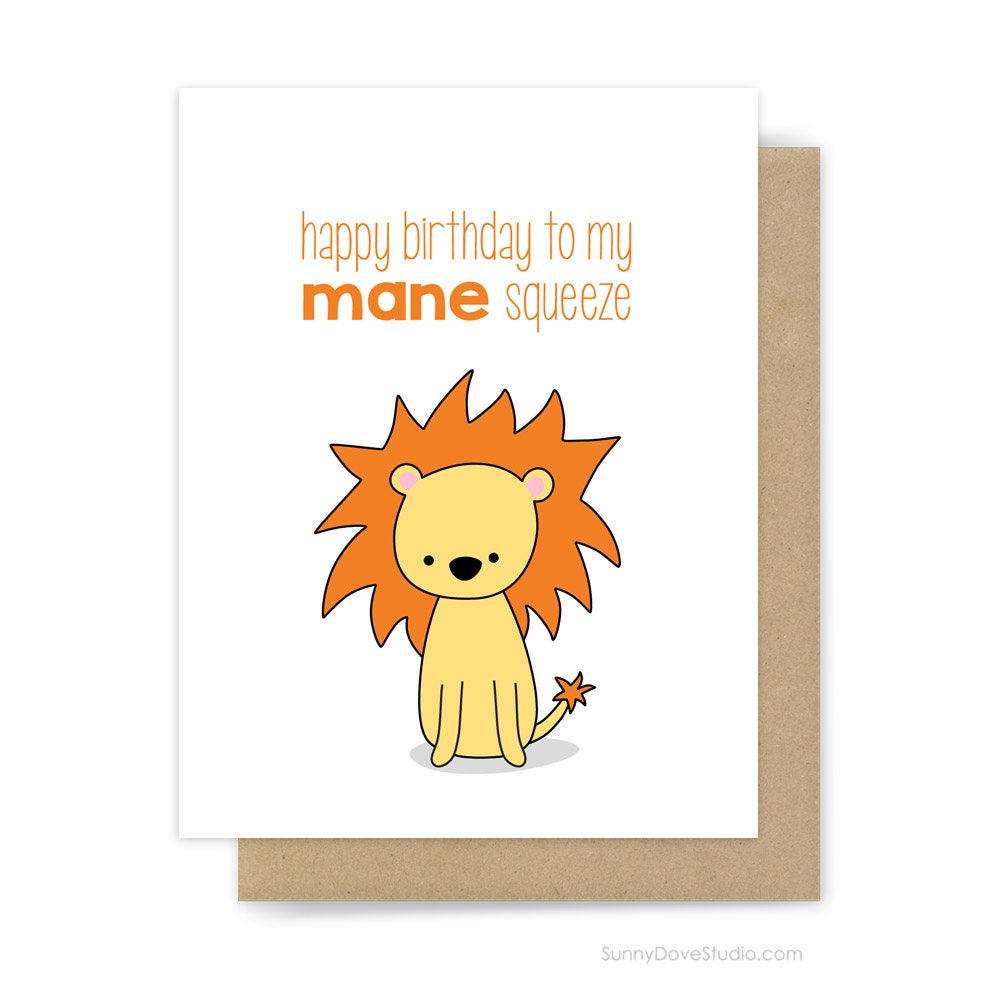 Funny Birthday Card For Boyfriend Husband Him Lion Pun Mane