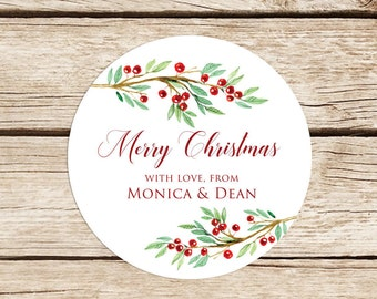 Christmas Labels, 2 Inch Christmas Stickers, Custom Christmas Stickers, Floral Christmas Labels