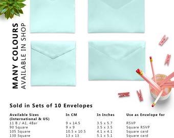 10 x Metallic Light Blue Envelopes, Money Envelopes, Paper Envelopes, Square Envelopes, Wedding Envelopes, Set of 10 Envelopes