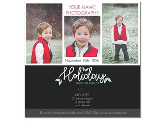 INSTANT DOWNLOAD, Holiday Mini Session Photography Template, Marketing, Christmas, Holiday Portrait, Xmas pics, Photo Minis, Layered