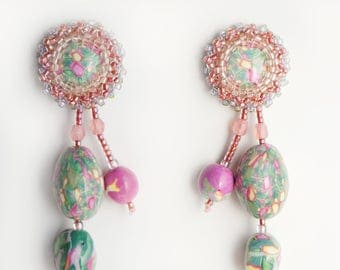 Earrings Novelove #Pink-green beadsarrings #gorgeous earrings, unic piece and well crafted # perfect gift a fairy lady #summerearrings