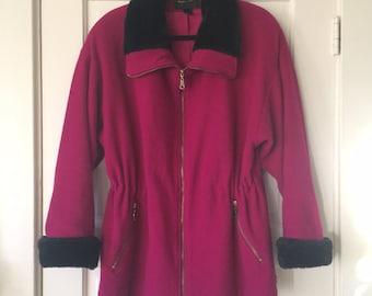 Fuchsia Wool Coat, Jacket, Parka, with Black Faux Fir Trim, Zip Up, Fur Cuffs, Waist Tie, Jewel Tone M 10