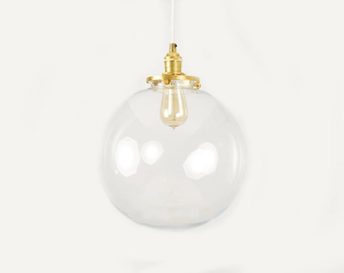 Raw Brass Pendant Lighting Gold with Clear Glass Globe - Cloth Wire -  Kitchen Island