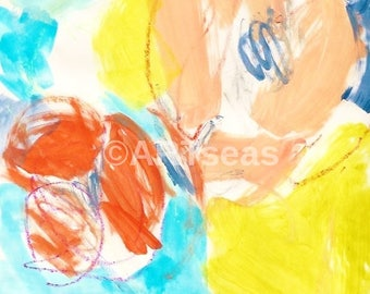 """Abstract Art Print; """"Playa"""" Series; Mixed Media; printed on 100% cotton rag; please enquire for larger giclee print"""