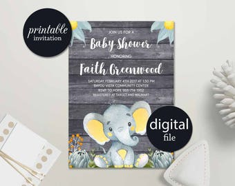 Elephant Baby Shower Invitation Rustic Baby Shower Invitation Boy Jungle Baby Shower Invitation Safari Gender neutral baby shower invitation