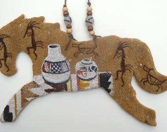 Horse southwestern spirit pony native american Indian Navajo sandpainting pueblo pottery Kokopelli bighorn sheep symbol desert southwest