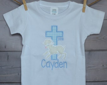 Personalized Easter Cross with Lamb Applique Shirt or Onesie Girl or Boy