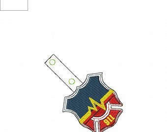 911 Dispatcher  - POLICE - FIRE Department - Law Enforcement - In The Hoop - Snap/Rivet Key Fob - DIGITAL Embroidery Design