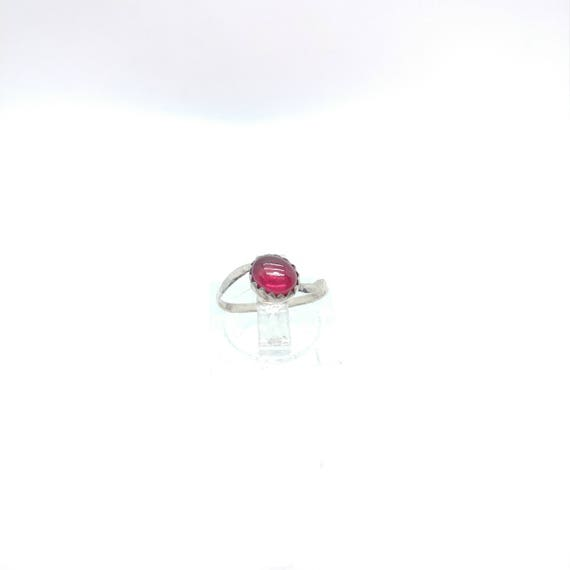 Simple Red Ring | Ruby Knuckle Ring | Sterling Silver Ring Sz 4.5 | Oval Ruby Ring | Red Ruby Ring | July Birthstone Ring