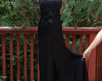 Black Satin Front Slit Spaghetti Strap Maxi Dress XS S Foxy Lady label
