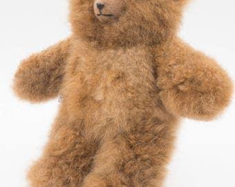 Genuine Baby Alpaca Hand Made 11 Inch Teddy Bear: Animal Friendly Huacaya Fur