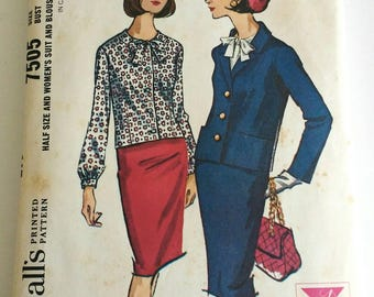 1960s Suit Pattern McCalls 7505 Vintage Suit Sewing Pattern with Blazer, Pencil Skirt, and Blouse Size 16.5 Bust 37
