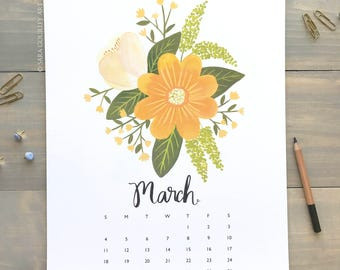 SALE 2018 Floral Wall Calendar, Spiral, Wire bound, Jute Twine, At a Glance, 11x14 Large, Handmade, Hand Painted, Illustration, Gift for Her