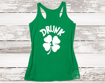 Funny St Patrick's Day Tanks. Drunk 1 And Drunk 2. (Any Number). Best Friend Drinking Tank. Funny Irish Pub Tank. Irish Girl.