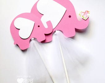 Pink Elephant Centerpiece or Cake Smash Topper in Bright pink & white. Baby shower, baby sprinkle, first birthday party. Baby girl.