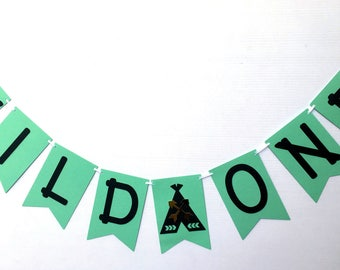 Wild One Black Mint Green Teepee banner. Bunting, garland. Photo Prop, First Birthday party, baby shower, wilderness, tribal, boho
