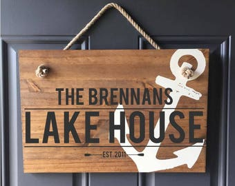 Personalized Lake House Sign, Family Vacation Home Sign, Real Estate Closing Gift, New Homeowner Gift, Custom Wood Sign, Family Name and Est