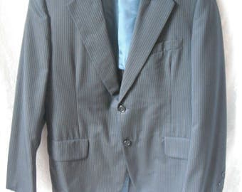 Vintage Navy Blue Pinstripe Suit Jacket Sport Coat Wool Lebow Clothes Blazer Lazarus
