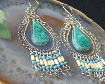Peruvian Chrysocolla Earrings