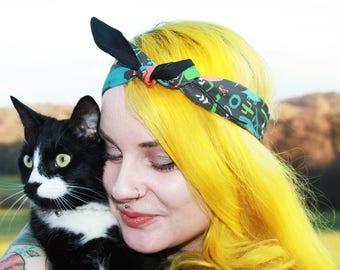 Jurassic Park Dinosaur Hair Tie - Exclusive Katie Abey fabric - Bandana - Hair tie - Headband