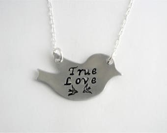 "Hand stamped sturdy ""True Love"" love birds necklace, bird pendant & silver chain,lovers,wife, valentine, I love you"