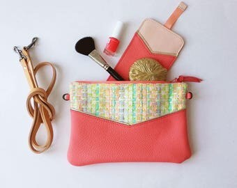 Small leather handbag, crossbody bag, leather clutch, real leather, pastel colors, fancy tweed, removable strap, vegetable tanned leather