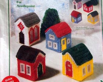 Christmas Village Kit On Printed Plastic Canvas By WonderArt Unopened Plastic Canvas Kit Undated