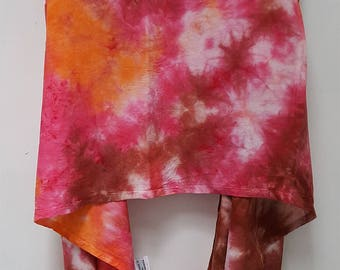 Hand Dyed Rayon Infinity Scarf in Pink, Orange, & Brown