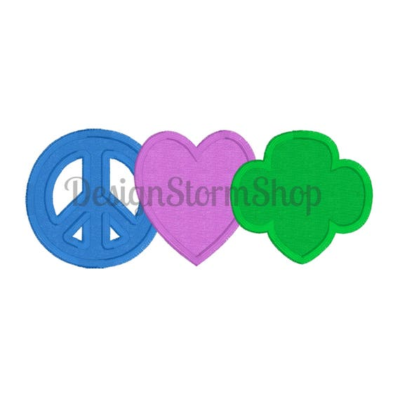 scout applique trefoil design girl peace love girl