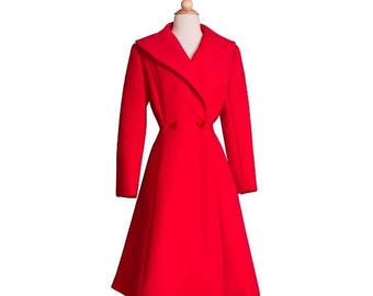25% OFF SALE 1980s Vintage Designer Red Princess Coat, 80s 50s Style Fine Wool Heavy Winter Coat by Pauline Trigere Small Medium