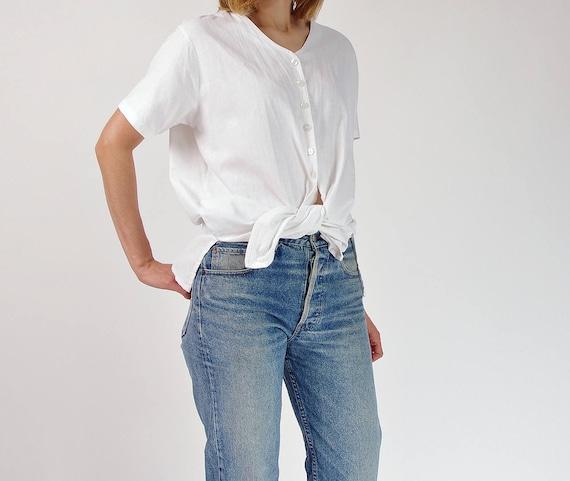 SALE - 90s Linen blend summer shirt / size M-L