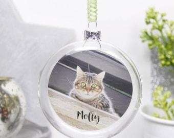 Pet Photo Flat Glass Bauble - Pet Bauble - Pet Christmas Bauble - Photo Bauble - Personalised Pet Bauble - Dog Bauble - Cat Bauble
