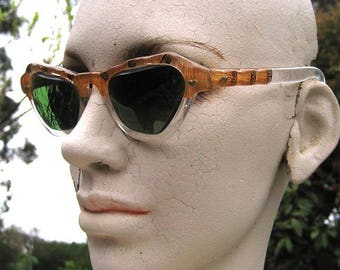 50's Vintage Faux Bamboo Frame Sunglasses. Green Glass Lenses