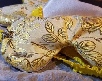Yellow rose brocade eye mask, sleep mask