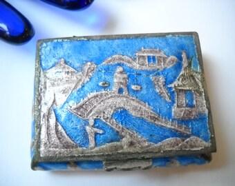 Vintage Chinese Enamel Pill Snuff Box Blue Enamel Village Scene Hinged Lined in Blue Marked China Folk Asian