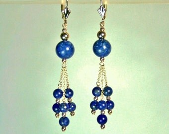 14k solid yellow gold natural 8mm & 4mm dark blue Lapis earrings leverback 3.7grams